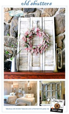 Old+Shutters+-+fabulous+features+and+a+themed+link+party+via+Funky+Junk+Interiors repurposed Farmhouse Shutter Projects, Diy Projects, Repurposed Furniture, Diy Furniture, Furniture Design, Furniture Vintage, Modern Furniture, Old Shutters, Repurposed Shutters