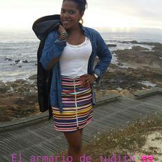 falda multicolor#vaquera#looks