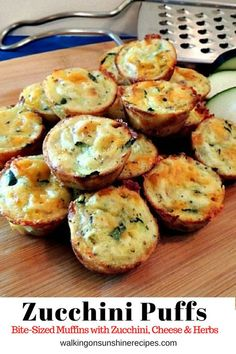 Easy to Make Zucchini Puffs filled with Grated Zucchini, Cheese and Herbs from Walking on Sunshine Recipes Zucchini Easy Zucchini Puffs Healthy Recipes, Healthy Snacks, Vegetarian Recipes, Cooking Recipes, Recipes With Zucchini, Zucchini Quiche Recipes, Zucchini Appetizers, Cheesy Zucchini Bake, Vegetable Appetizers