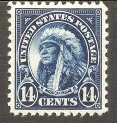 US .14¢ American Indian stamp, 1931 http://www.theswedishtiger.com/x1931.html