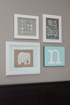 Nursery Decor, turquoise & gray