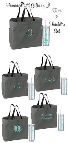 Bridesmaid Gifts Tote and Tumbler by PersonalizedGiftsbyJ on Etsy