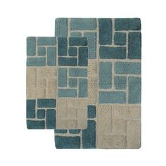 Berkely ($62) ❤ liked on Polyvore featuring home, bed & bath, bath, bath rugs, blue, blue bathroom rugs, non skid bathroom rugs, non skid bath rugs, blue bath rug and plush bathroom rugs