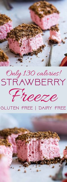 Strawberry Freeze - A low calorie, quick and easy, gluten free healthy Frozen Strawberry Dessert Recipe with a crunchy, pecan crumble! Always a hit with kids and adults and everyone always wants the recipe! | #Foodfaithfitness | #Glutenfree #Dairyfree #Healthy #Strawberries #Dessert #desertsfoodrecipes