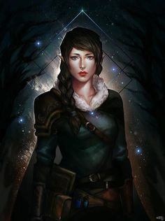 Eirwynn Under The Stars by Vanna Le : ReasonableFantasy Female elf character concept for DnD / Pathfinder wood elf with fireflies or sorcerer with stars background spell caster Dungeons And Dragons Characters, Dnd Characters, Fantasy Characters, Female Characters, Fantasy Portraits, Character Portraits, Character Art, Character Ideas, Character Concept