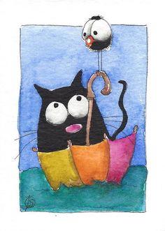 ACEO Original watercolor painting whimsical fat black cat - magic boat #IllustrationArt