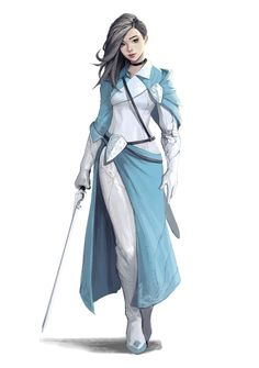 Female Human white and blue Paladin Knight - Pathfinder PFRPG DND D&D 3.5 5th ed d20 fantasy