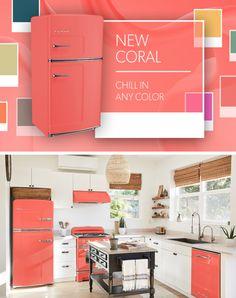 Introducing Big Chill's Latest Color: New Coral Coral Kitchen, New Kitchen, Kitchen Ideas, Kitchen Redo, Retro Stove, Kitchen Design Open, Ikea, Big Chill, Latest Colour