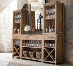 Pottery Barn Bar Console with Towers Diy Home Bar, Diy Bar, Bars For Home, Pottery Barn Bar, Bar Hutch, Wine Hutch, Armoire Bar, Home Bar Furniture, Furniture Ideas