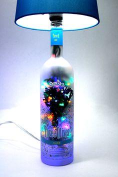 beer and liquor cake | LED Lighted Cake Lamp Three Olives Vodka 4 Option Liquor Bottle Lamp