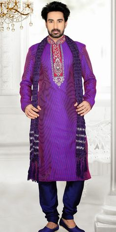 USD 100.85 Purple Art Silk Wedding Kurta With Churidar 47701