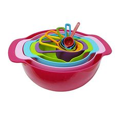AgileShop 10 Piece Compact Mixing Bowls Food Prep and Measuring Nesting Set MultiColor >>> This is an Amazon Affiliate link. Click on the image for additional details.