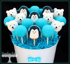 Winter themed Gender Reveal Cake pops with penguins and polar bear cake pops- the boys. www.facebook.com/i.love.cuteology.cakes