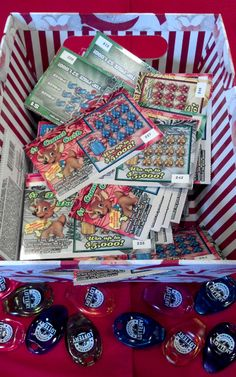 Instead of exchanging gifts for Christmas, each person brings lottery scratch tickets which we put them in a box or a hat. While munching on breakfast and goodies, we each take one ticket then pass the box round until they are all gone.