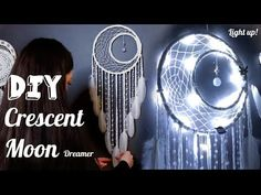 DIY Crescent Moon Dreamcatcher with Fairy Lights Tutorial - Bing video Moon Dreamcatcher, Crochet Dreamcatcher, Dreamcatcher Tutorial, Dreamcatchers Diy, Disney Diy Crafts, Easy Diy Crafts, Diy Dream Catcher Tutorial, Dream Catcher Craft, Dream Catchers