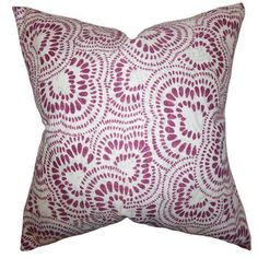 "The Pillow Collection Glynis Floral Cotton Throw Pillow Color: Bourdeaux, Size: 18"" x 18"""