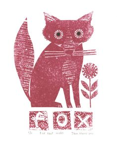 Wish the red was more cherry red, but still think it's adorable... Fox that rocks gocco print by Jane Ormes