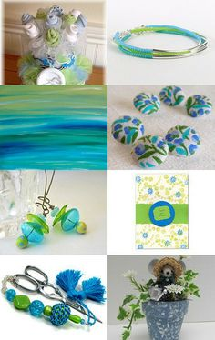 Bouquets of Blue and Green by Bonnie Sernesky on Etsy--Pinned with TreasuryPin.com