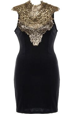 Ornate Fate Dress: Features a luxurious gold lace neck applique, illusion V-neckline, black ribbon ties crowning a sexy open back, and a beautiful form-fitting silhouette to finish.