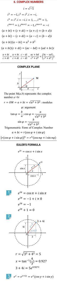 Complex numbers #mathhacks #Mathematics Teacher Sites, Teacher Boards, Complex Plane, Complex Numbers, Math Formulas, Math About Me, Math Notebooks, Calculus, Math Skills