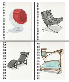 Famous Chairs Spiral Notebooks, available at my store.  #artnouveau #industrialdesign #famouschairs #furniture #homedecoration #homedeco #officedecoration #designicon #eugeniaalvarez #spiralnotebooks #notebooks #artnotebooks #interiordesign #designeressentials #artsupport #talnts #watercolor #watercolour #watercolorart  #watercolorprint #acuarela #art_support #art_gallery  #artprints #originalpainting
