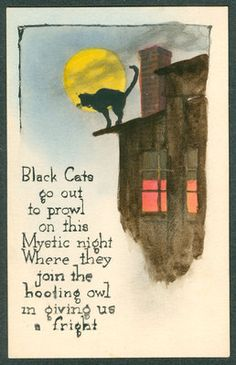 Vintage Hand Colored Gibson Art Co Halloween Postcard Black Cat on Roof Moon | eBay