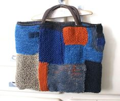 Tote bag in linen, wool and alpaca yarns, antique japanese cottons /boro/sashiko/make do and mend Sashiko Embroidery, Japanese Embroidery, Japanese Cotton, Japanese Fabric, Make Do And Mend, Patchwork Bags, Crazy Patchwork, Knitted Bags, Love Crochet