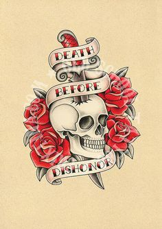 T10. tattoo illustrations. Skull dagger roses Flash por Retrocrix