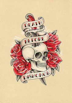 T10. tattoo illustrations. Skull dagger roses Flash por Retrocrix