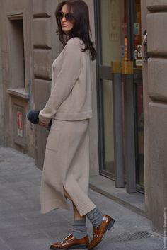 Купить Вязаный костюм Style me pretty cashmere с юбкой - бежевый, вязаная юбка