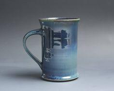 Pottery coffee mug, ceramic mug, stoneware tea cup deep blue 12 oz 4038 by BlueParrotPots on Etsy