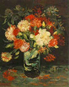 Vase with Carnations  Oil on canvas 46.0 x 37.5 cm. Paris: Summer, 1886 F 245, JH 1145  Amsterdam: Stedelijk Museum