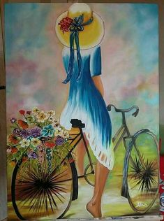(Watercolor) Girl on bike. Bicycle Painting, Bicycle Art, Fabric Painting, Painting & Drawing, Illustration Blume, Acrylic Art, Cute Art, Art Pictures, Watercolor Paintings
