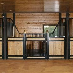 This low rise version of our European-style stall fronts features a low top grill on a wood-filled stall door. Your horse is given the freedom to hang it. Barn Stalls, Horse Stalls, Horse Barns, Dream Stables, Dream Barn, Barn House Kits, Horse Barn Designs, Horse Barn Plans, Tallit