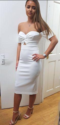 177c2749c8d White Knot Front Bardot Bodycon Midi Elegant Party Occasion Dress Size 8   fashion  clothing