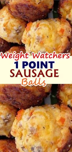 WW 1 Point Sausage Balls are easy, cheesy and oh so delicious! These weight watc. - WW 1 Point Sausage Balls are easy, cheesy and oh so delicious! These weight watchers sausage balls - Weight Watcher Desserts, Weight Watchers Snacks, Weight Watchers Breakfast, Weight Watchers Smart Points, Weight Watcher Dinners, Ww Recipes, Skinny Recipes, Cooking Recipes, Recipies