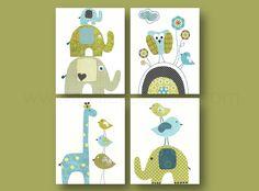 Nursery wall art, kids room decor, baby nursery, children art, owl, giraffe, birds, elephant, set of four 8x10 in. prints by GalerieAnais. $56.00, via Etsy.