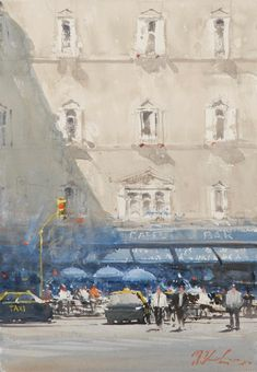 Kai Fine Art is an art website, shows painting and illustration works all over the world. Watercolor City, Watercolor Landscape, Landscape Paintings, Watercolor Paintings, Watercolours, Sketch Painting, Artist Painting, Joseph Zbukvic, Cityscape Art