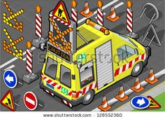 Detailed illustration of a isometric roadside assistance truck - stock vector