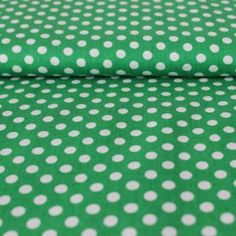 Bumbac – White dots on green - Materiale patchwork si quilting - Materiale textile
