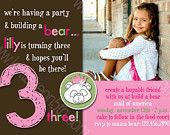 Build a Bear - Any Age - Printable Birthday Party Invitation - Personalized Digital Photo Card Girl or Boy. $16.00, via Etsy.