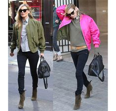 Copying the ultimate Kate Moss military-inspired look: totally want her army green and fuchsia pink reversible bomber jacket! Street Style Inspiration, Stil Inspiration, Georgia May Jagger, Miranda Kerr, Kate Moss Stil, Estilo Kate Moss, School Run Style, Helena Bordon, Moss Fashion