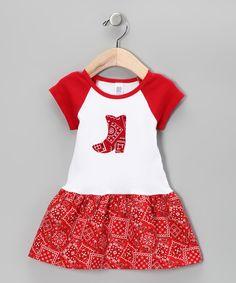 Red Cowgirl Raglan Dress - Infant