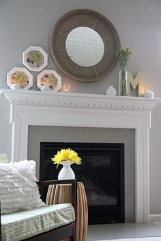 Decoration, Rustic Fireplace Mantels Oval Glass Top Coffee Table And Swivel Chairs For Living Room: Dazzling Fireplace Mantel Decor Welcoming Spring Season