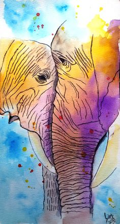 """""""Gentle giants"""" Abstract watercolor painting of elephants on canson"""