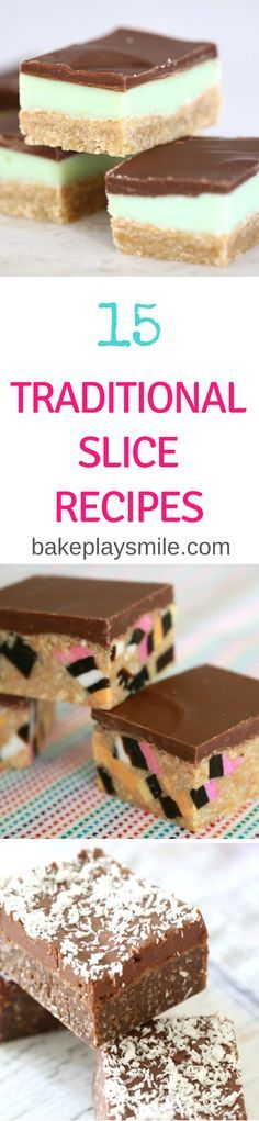 15 Classic & Traditional Slice Recipes is part of Slices recipes - The ultimate collection of 15 Classic & Traditional Slice Recipes From caramel slice to jelly slice, hedgehog slice to peppermint slice and so much more! No Bake Desserts, Delicious Desserts, Yummy Food, Baking Recipes, Cake Recipes, Dessert Recipes, Peppermint Slice, Jelly Slice, Christmas Cooking
