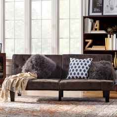 Sleeper Sofa Bed Loveseat Couch Tufted Queen Futon Mattress Lounger Seat Brown…