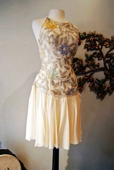 Wedding Dress / Vintage 1980s Cream Chiffon and Beaded Wedding Dress by Yvonne LaFleur New Orleans Size XS