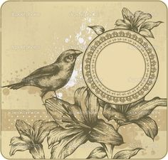 vintage birds and flower