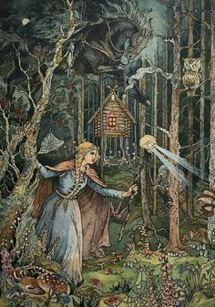 Thank you for the feature ❤ Baba Yaga is a crone and the elder in Slavic folklore who appears as a Inspiration Art, Art Inspo, Art And Illustration, Fairy Tale Illustrations, Botanical Illustration, Fantasy Kunst, Fantasy Art, Ivan Bilibin, Photo D Art